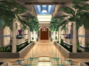 AST was hired by Raleigh Design to flesh out this hotel lobby concept art.