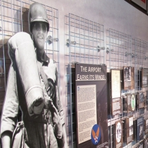 This life size soldier cut-out helps tell the aviation story from a military point of view.