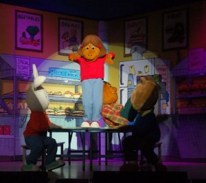 Arthur's Friends share a moment in the Cafeteria. Scenic Elements had to be easily moved by costumed characters and sturdy enough to dance on.