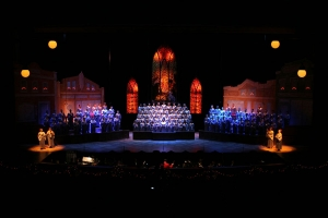 For the Cantata portion of the show Town Hall opens up like a Christmas Card to reveal the Cathedral.