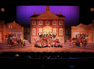 The Town Square is just one of the many elaborate sets designed for the Purdue Music Organization's Annual Christmas Show.