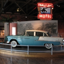 A local art deco style motel from the 1950's provided a fitting scene in which to park this classic car.
