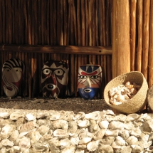 The masks made for this exhibit were created from archeological records. The paint schemes and colors were chosen to look as if they were freshly painted.