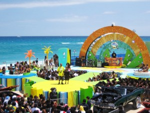 This versatile stage built by AST had to accommodate a hot tub, multiple live performances, a dj booth, an interview couch, modeling runways and even a car show.