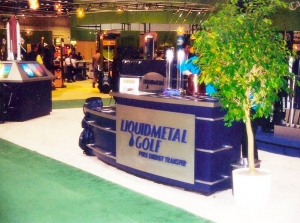 Traditional elements of trade show kiosks, like this desk, were updated and given a modern appearance.