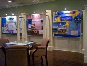 The HGTV Green Home exhibit consisted of custom modular panels mounted to a decorative support structure.
