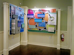 Graphics and 3-dimensional objects were applied to the graphic panels for the HGTV Green Home Giveaway exhibit.