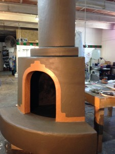 Kiva fireplace in our studio. Fabrication complete and ready for installation.